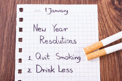 New years resolutions written on sheet of paper, quit smoking, world no tobacco day Stock Photos